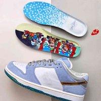 새로운 숀 클라이버 x s b dunk pro qs 낮은 겨울 발렌타인 데이 스케이트 보드 신발 남자 화이트 심령 파란색 금속 골드 Zapatos DC9936-100 36-