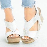 Adisputent 2020 Moda Ayak Bileği Kayışı Açık Toe Bayanlar Ayakkabı Yeni Kadın Kama Sandalet Kadın Platformu Moda Yüksek Topuk Sandalet P4RQ #