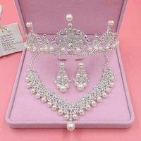 Orecchini collana di lusso argento color color wedding accessori per capelli perla rhinestone tiaras corona orecchino da sposa set gioielli da donna