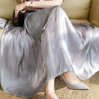 Luster Silk Slippery Long Womens Skirts Elastic Waist Pleated Midi Beach Boho Vintage Summer Faldas Saia