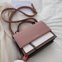 Evening Bags Contrast Color Square Tote Bag 2021 Fashion High Quality PU Leather Women's Designer Handbag Travel Shoulder Messenger