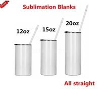 Sublimation Straight Tumblers with Lid Straw Blanks 12 15 20 oz Stainless Steel Car Cups Tumbler Travel Mugs Insulated Water Bottles