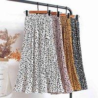 Croysier Mujeres gasa falda plisada elástica de la cintura alta de la cintura de verano Faldas para mujer Imprimir Casual MIDI Falda larga Mid becerro Longitud 210401