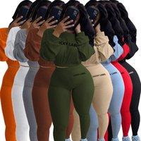 Chándal de moda RIB LIBRETY ETIQUETA DE LUCKY 2 Pieza Conjunto Mujeres Traje de las mujeres Cultivo de otoño Tops Leggings Casual Sweet High Streth Dogger Trajes Streetwear