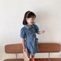 Girls Buddel manica corta Denim Dress in estate bambini risvolto a cintura singola cintura nappa jean vestiti casual bambini bambini morbidi abbigliamento da cowboy