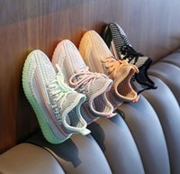 Big Small Boy Girl Children Toddler Sneaker Black four colours Kanye West Reflective Infant Yecheil Kids Running Shoes Static Glow Green GC315