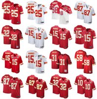 2021 Jerseys de futebol americano Kansas City Chiefs Jersey Patrick 15 Mahomes Clyde 25 Edwards-Heraire Derrick 58 Thomas Marcus 32 Allen Tamanho Costurado S-XXXL