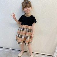 Nuovo arrivo 2021 estate moda bambini ragazze vestito vestito marca stile a righe in cotone ruffato patchwork baby girl vestito principessa