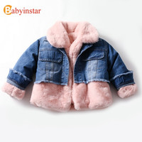 Babyinstar New Cute Thicken Plush Patchwork Denim Jacket 2-6Y Baby Girl Winter Coat Kids Winter Jacket Baby Girl Coat Toddler A0510