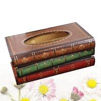 Kreative Retro-Stil-Buch-Form-Gewebe-Box-hölzerne Containerhalter-Fall für Home Büro-Dekoration (zufällige Farbe) Boxen-Servietten