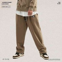 Leggings Trendy straight brand pure drawstring color simple loose hip hop hip hop men's and women's sports pants casual pants