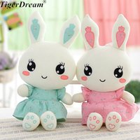 2018 Cute Wearing Dress Rabbit Plush Toys Bunny PP Cotton Stuffed Rabbits Dolls Kids Toys Birthday Gifts 2 Colors