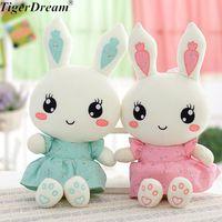 2018 Sevimli Giyen Elbise Tavşan Peluş Oyuncaklar Bunny PP Pamuk Dolması Tavşan Bebekler Çocuk Oyuncakları Doğum Günü Hediyeleri 2 Renkler