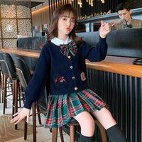 Clothing Sets Girls JK Uniform Spring Autumn Clothes School College Students Sweater+Shirt+Skirt Girl Pleated Skirt 3 Piece Set