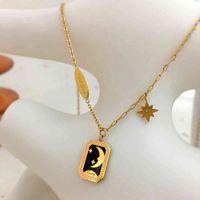 Монлентер Византийские звезды Луна Ожерелье Титановая стальная цепь Черный эмаль подвеска винтажные ожерелья украшения