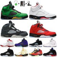 Jumpman 5 Erkek Basketbol Ayakkabıları 5s Oregon Ördekler Yangın Kırmızı Antrasit Raging Bull 2021 Alternatif Üzüm Spor Eğitmenleri Sneakers Beyaz Çimento
