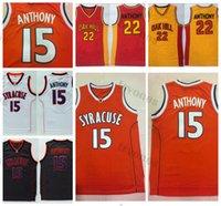 Herren Syrakus Orange Camerlo Anthony College Basketball-Trikots # 15 Black White Hemd Universität Stitched Oak Hill High School Jersey S-XXL