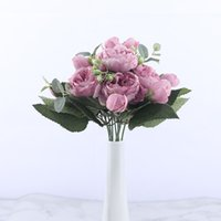 30cm Rose Pink Silk Peony Artificial Flowers Bouquet 5 Big Head and 4 Bud Cheap Fake Flowers for Home Wedding Decoration Indoor 5pcs