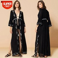 Human cotton black and white embroidered long cardigan beach sunscreen jacket bikini vacation coverall swimsuit outer wear women #oM5g
