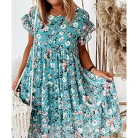 2021 Summer Floral Print Dress Bohemian Ruffles Short Sleeve A-Line Dresses Elegant O-Neck Loose Mini Party Dresses Vestidos