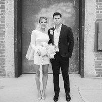 Vestidos de noiva curtos vestidos de cetim vestidos de casamento um ombro manga longa simples marfim marfim sem encosto vestido de noiva