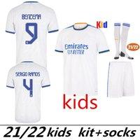 2021 Kind Set Jungen Madrid Fussball Jersey 22 20 21 Mbappe Hazard Alaba Sergio Ramos Benzem Vinicius 2022 2021 Camiseta Football Hemd Uniforms Kids Kit Jersey