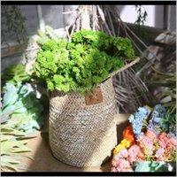 Faux Çiçek Yeşillik 5 Renk Gerçek Dokunmatik Yumuşak Kauçuk Yapay Pirinç Tsai Topu Meyve Ortanca Simülasyon Sahte Çiçek Etli Bitki P 6Kqsy