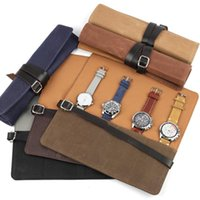 Watch Boxes & Cases Four Grid Wet Wax Canvas Box Collection Protection Bracelet Storage Bag Portable Travel Jewelry Case