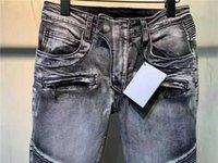 Luxurys Designer Herren Jeans Denim Top Qualität Bal-Pants Graue Loch Falten Slim Bein Designer Weiß Off Reflection Diamon Größe W29-W40