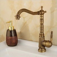 Bathroom Sink Faucets Antique Brass Kitchen Faucet 360 Swivel Basin Mixer Tap And Cold Water Mixers