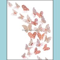 Wall Décor & Gardenwall Stickers 12Pcs Rose Gold Paper Hollow 3D Butterfly Sticker Decals For Kids Room Tv Home Kitchen Diy Decoration Drop