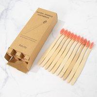 10 pcs Bambu Toothbrush Produto Eco-friendly Produto Vegan Dente Escova Arco-íris Preto De Madeira Soft Fiber Adultos Set 499 v2