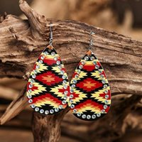 Dangle & Chandelier 2021 Vintage Row AB Color Crysta Colorful Grain Stripe Leather Drop Earrings For Women