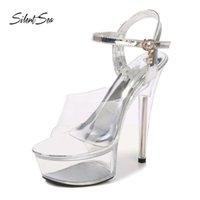 Silencea Sexy женщины сандалии ясных прозрачных ночных клубов женские стальные трубки танцующие туфли женские подиума на высоком каблуке