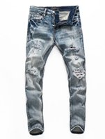 2021 the latest fashion jeans and men's pants stylist tight holes slim boutique craft no.28-40#203