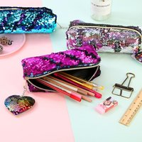 Eulesing Frauen Pailletten Bleistift Case Tasche Make-up Pinsel Beutel Comestall Tasche mit Liebesform Anhänger D18