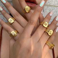 2021 Модный Хипсоп Регулируемый 18K Позолоченные aaa zircon a-z Письмоное кольцо Сигнал Квадратный Заявление Золотые начальные кольца для женщин 766 Z2