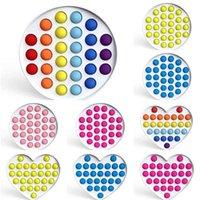 Rainbow Fidget Poppers Доска Сенсорный Push Bubble Игрушки Большой Размер POP Его Борадс Силикон + Жесткий Пластиковый ПК Игрушка Пальца Тревожный стресс DHL