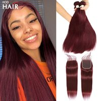 99J Straight Bundle With Closure Brazilian Remy Human Hair Burgundy Red Colored 3 4 Bundles 4x4 Lace Closures