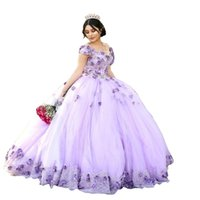Lilac Tulle 3d Flowers Quinceanera Dresses Off Shoulder 2022 Crystal Beaded Ball Gowns Plus Size Sweet 15 Girls Dress