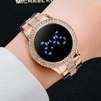 Luxury LED Women Watches Diamond Bracelet Stainless Steel Chain Watch For Women Rose Gold Dress Casual Quartz Watch Reloj Mujer