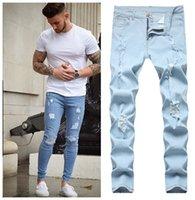 Erkek Kot Man 3 Stilleri Erkekler Sıkı Yırtık Skinny Biker Nakış Baskı Yıkılan Delik Bantlanmış Slim Fit Denim Çizik Yüksek Kaliteli Jean Giyim