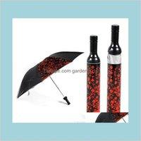 Umbrellas House Sundries Home Jardin Jardin en gros Creative Vin de vin Parapluie Portable Trois pliants Sun-pluie anti-UV pluvime envers g