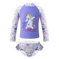 One-Pieces TiaoBug 2Pcs Kids Girls Swimming Suit Round Neck Long Sleeves Cartoon Print Tops With Brief Set For Beach Pool Bathing Rashguard