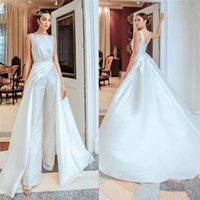 Satin jumpsuit Wedding Dresses 2021 with Overskirt Bride Reception beach garden bridal Women Pant Suits Vestido De Noiva