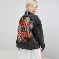 CBAFU Vintage Çiçek Nakış Denim Ceket Kadın Kovboy Uzun Kollu Down Yaka Rahat Denim Ceket Streetwear Dış Giyim P904 E7O2 #