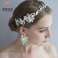 Puricueros Getnoivas Vintage Pearl Pearl Rhinestone Hoja Tiaras Headband Hairband Bridal Hair Jewelry Head Piece Crown Crown Accesorio