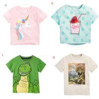 2021 Yaz Bebek Çocuk Giyim T-shirt 100% Pamuk Kısa Kollu Dinozor Baskı Çiçekler Kız Erkek Üst