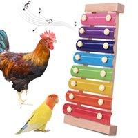 Diğer Kuş Malzemeleri Tavuk Ksilofon Oyuncak Asılı Tavuk Pecking Oyuncaklar 8 Metal Anahtarlar Koop Papağan Orta ve Büyük Kuşlar için Koşullu Ahşap