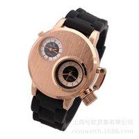 Мода V6 Двойное движение Круглые Часы Корейский Повседневная Мужчины Спорт Уолты Водонепроницаемые Мужские Полная сталь и Силиконкварт Часы Наручные часы